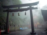 金刀比羅宮の奥社の様子。霧がかかって幻想的に見えるが、1300段以上の階段を登ってヘロヘロなうえに、雨が降ってきて本人はそれどころではなかった