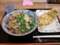 徳島市内の国道11号線沿いで見つけた「えびす製麺所」の「肉ぶっかけうどん」と「かしわ天」。これだけボリュームがあって合計670円だった。