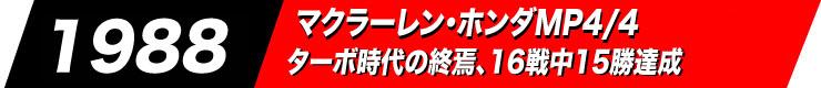 1988マクラーレン・ホンダMP4/4ターボ時代の終焉、16戦中15勝達成