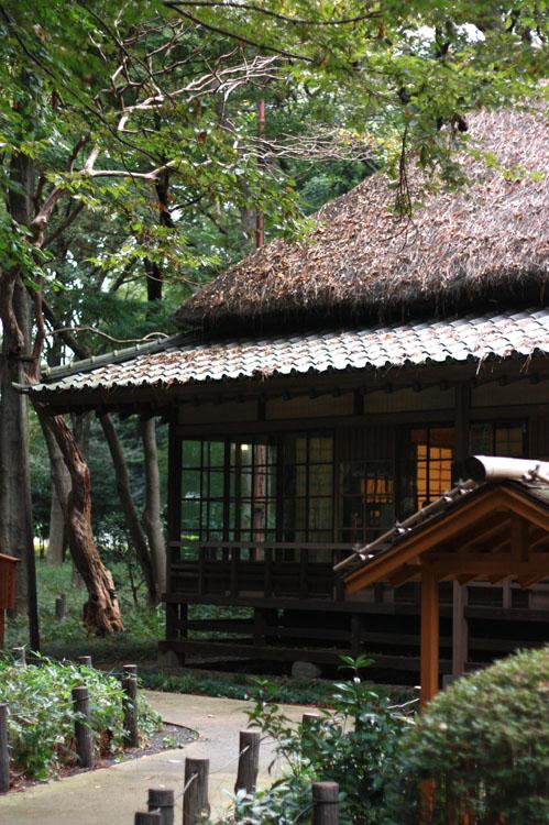 公園内に残っている徳富盧花の旧家。かやぶき屋根って見てるとうっとりしちゃうのは何故なのかしら…