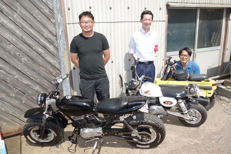 銚子電鉄のバイク部の皆さん。中央の鈴木さんは企画広報をされており、一日中、走り回っていました。どうもお疲れさまでした〜。