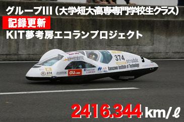 グループIII(大学・短大・高専・専門学校生クラス) 記録更新KIT夢考房エコランプロジェクト 2416.344 km/リッター