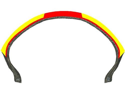 フロント(左)のオレンジ色の部分は、低温、ウエット、グリップの良さを誇るシリカ100%コンパウンドを採用。リア(右)は、黄色の部分がシリカ100%、センター部分の赤で表示した部分はシリカ70%としたより耐久性重視のコンパウンド