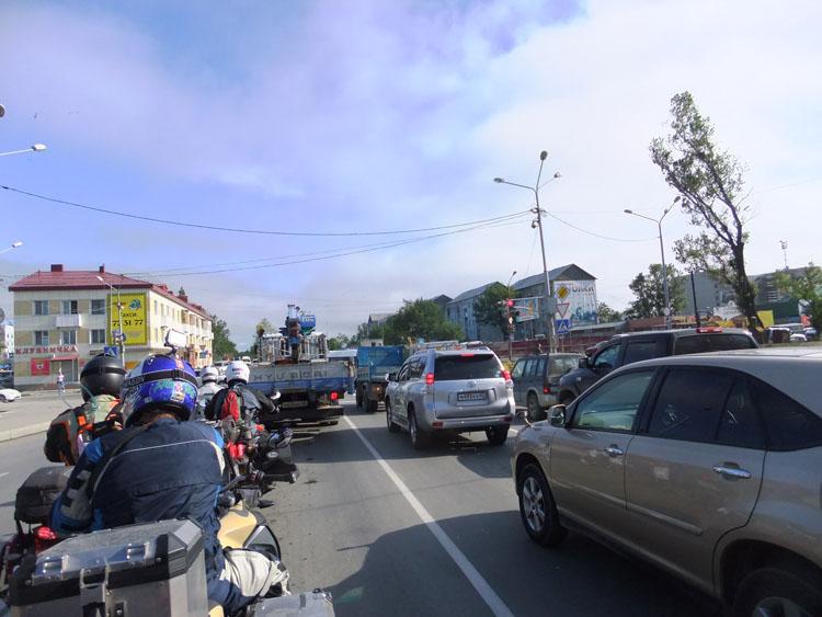 ユジノサハリンスク市街は渋滞