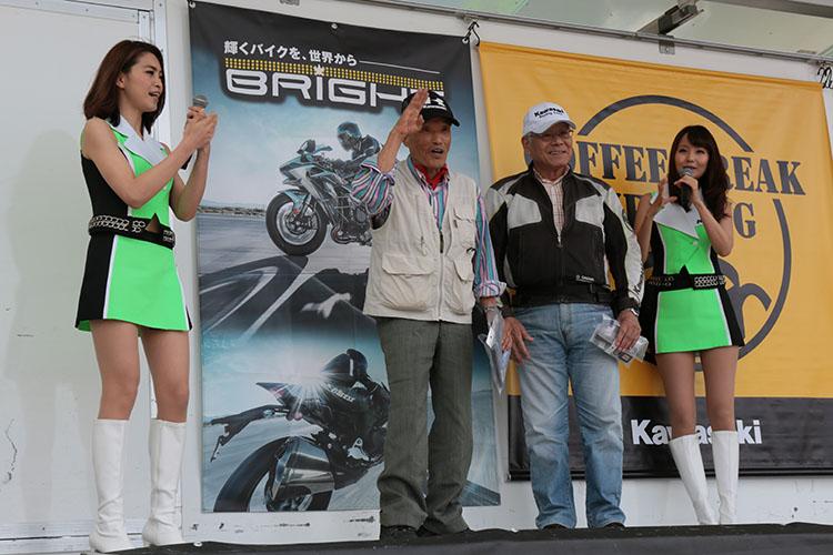 この日最高齢の参加は満81歳、現役でW650を駆って会場までやってきたバリバリの現役ライダーだった