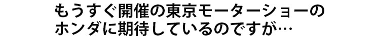 もうすぐ開催の東京モーターショーのホンダに期待しているのですが…