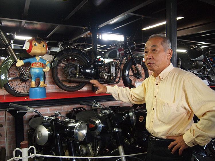 4月の震災時には大きなダメージを受けたコレクション。多くのバイクが倒れたという