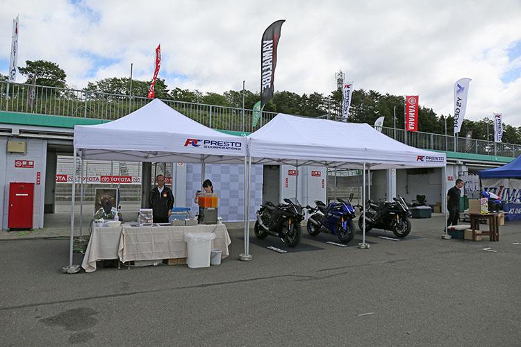垂涎のR1やR6など海外モデルが展示、YZF-Rの販売のプレストコーポレーションのテント