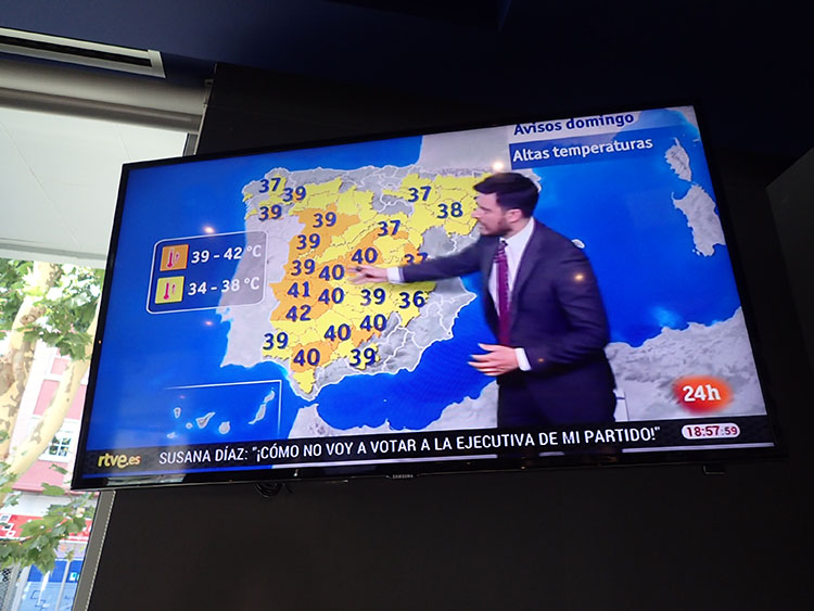 天気予報の図。とても暑かった
