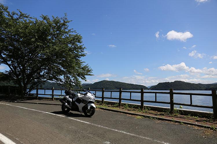 水月湖畔の道