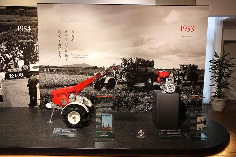 1953年、汎用製品事業を開始。VNC汎用エンジン(1958年)、耕うん機F60(1961年)を展示
