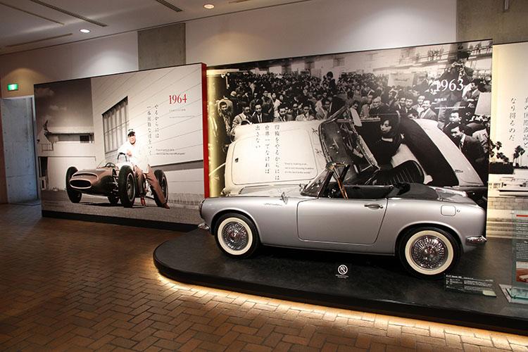 1963年、四輪事業に進出。発売には至らなかったスポーツ360(復刻モデル)を展示